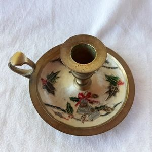 Vintage Christmas Motif Enameled Brass Tapered Can
